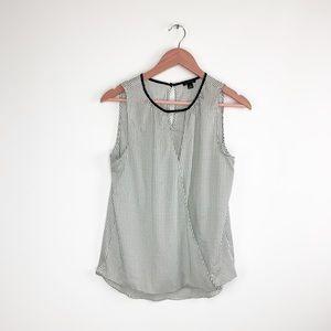 Ann Taylor sleeveless faux wrap blouse